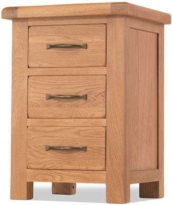 Bradburn Oak 3 Drawer Bedside Cabinet