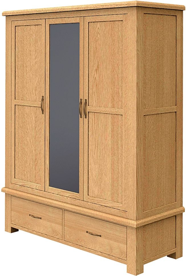 Bradburn Oak Triple Wardrobe with Mirror