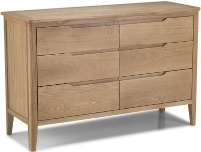 Bresca Oak 6 Drawer Wide Chest