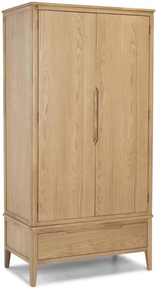 Bresca Solid Oak 2 Door 1 Drawer Double Wardrobe
