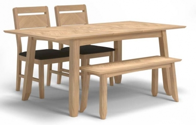 Celina Oak Extending Dining Table with 2 Chairs and Bench