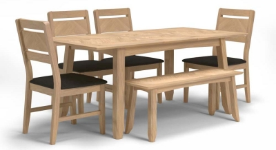 Celina Oak Extending Dining Table with 4 Chairs and Bench