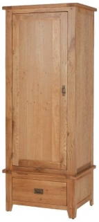 Cherington Oak Single Wardrobe with Drawer