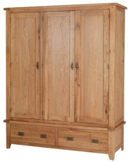 Cherington Oak Triple Wardrobe with Drawer