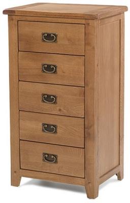 Cherington Oak 5 Drawer Tall Chest