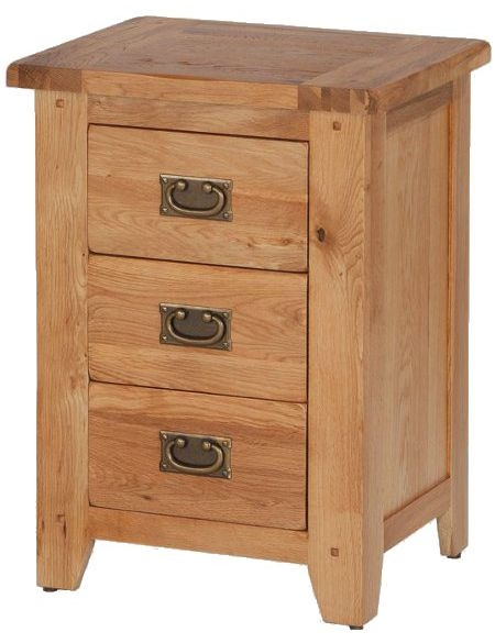 Cherington Oak 3 Drawer Bedside Cabinet