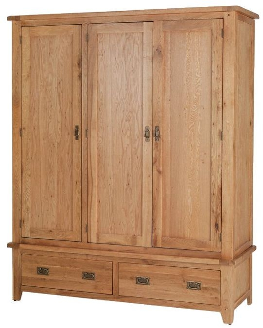 Cherington Oak Triple Wardrobe with Drawer