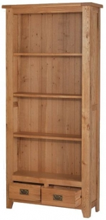 Cherington Oak Tall Bookcase With Drawers