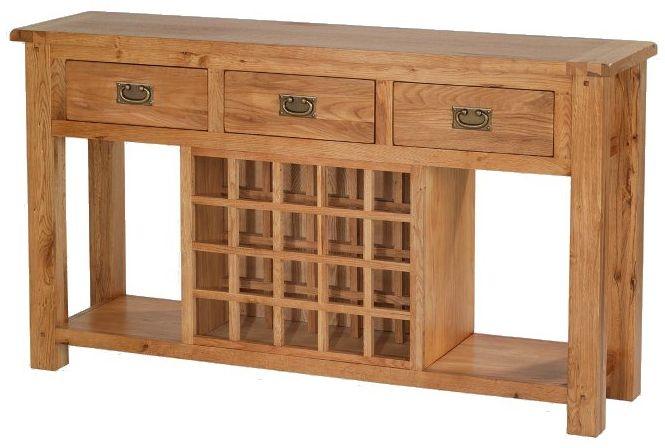 Cherington Oak 3 Drawer Sideboard with Wine Rack