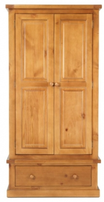 Churchill Pine 2 Door 1 Drawer Wardrobe