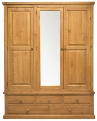 Churchill Pine 3 Door Combi Wardrobe