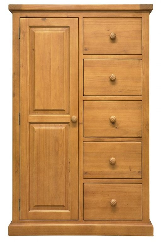 Churchill Pine 1 Door 5 Drawer Combination Single Wardrobe