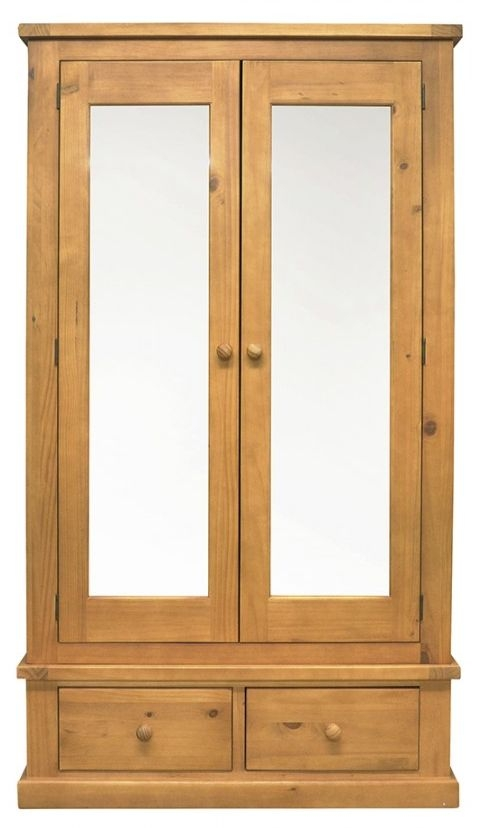 Churchill Pine 2 Door 2 Drawer Double Wardrobe with Mirror