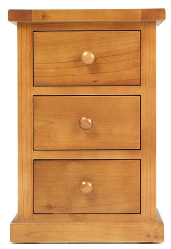 Churchill Pine Small 3 Drawer Bedside Cabinet