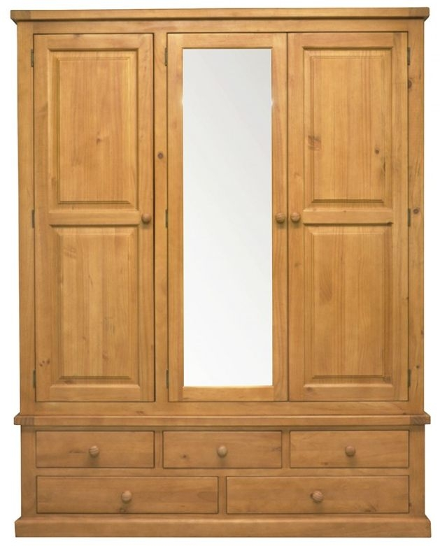 Churchill Pine 3 Door 5 Drawer Triple Wardrobe with Mirror