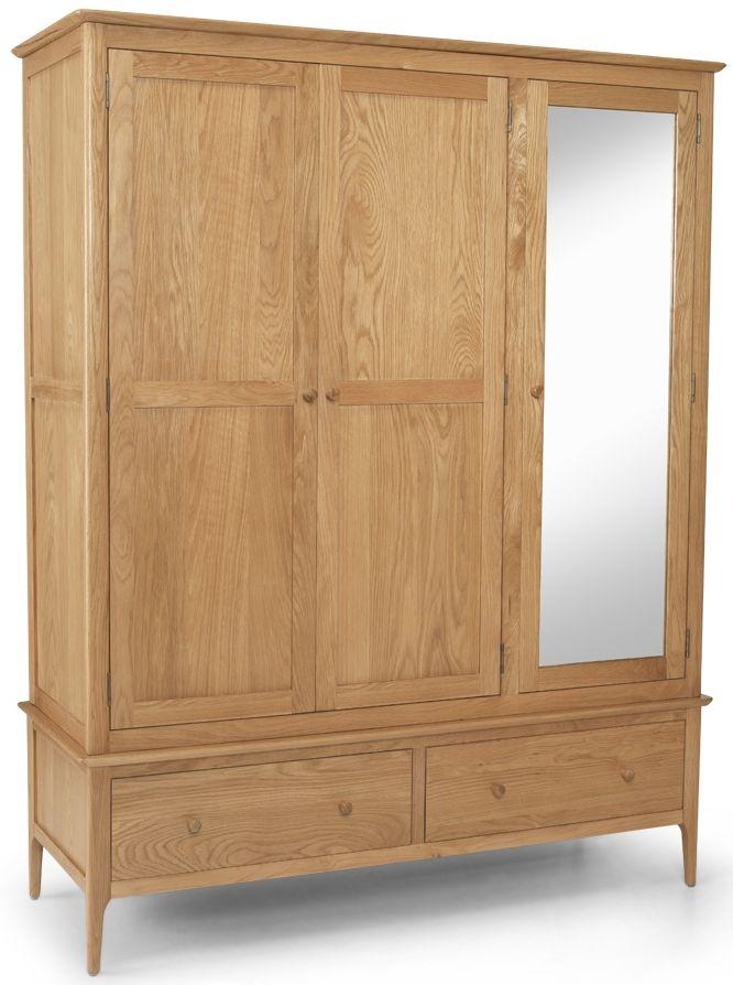 Cornett Solid Oak 3 Door 2 Drawer Triple Wardrobe with Mirror