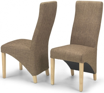 Ariton Brown Tweed Fabric Dining Chair (Pair)