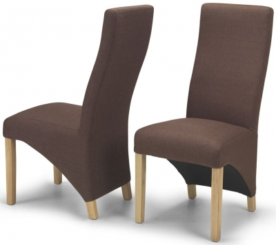 Ariton Dark Brown Fabric Dining Chair (Pair)