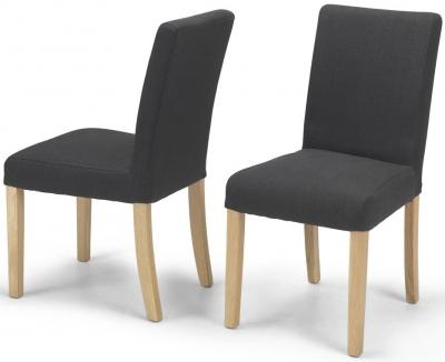 Elida Dark Grey Linen Fabric Dining Chair (Pair)