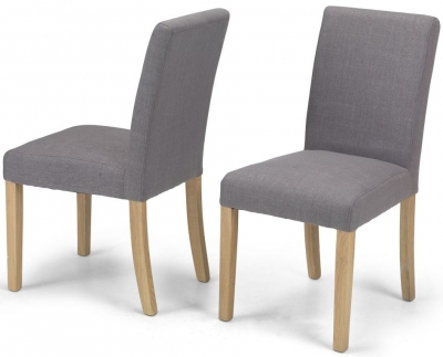 Elida Grey Linen Fabric Dining Chair (Pair)