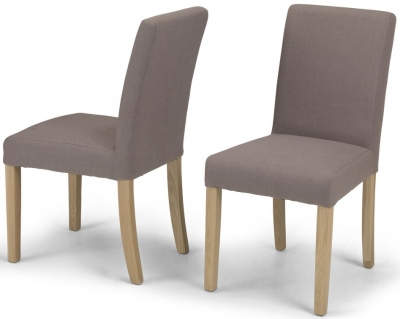 Elida Mocha Linen Fabric Dining Chair (Pair)