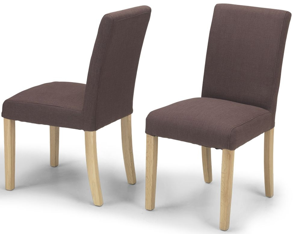 Product photograph showing Elida Brown Linen Fabric Dining Chair Pair
