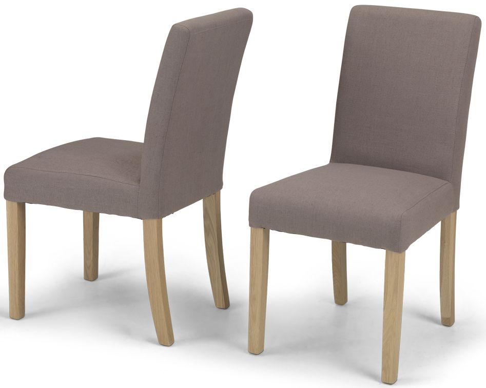 Elida Mocha Linen Fabric Dining Chair (Pair)