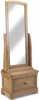 Georgina Natural Oak 1 Drawer Sleigh Cheval Mirror