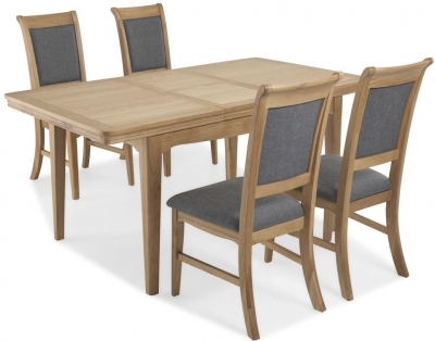 Georgina Natural Oak Rectangular Extending Dining Set with 4 Upholstered Chairs - 125cm-165cm