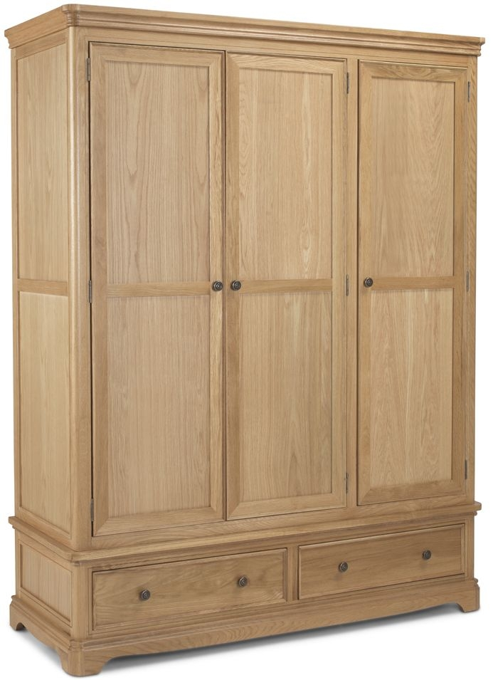 Georgina Natural Oak 3 Door 2 Drawer Triple Wardrobe