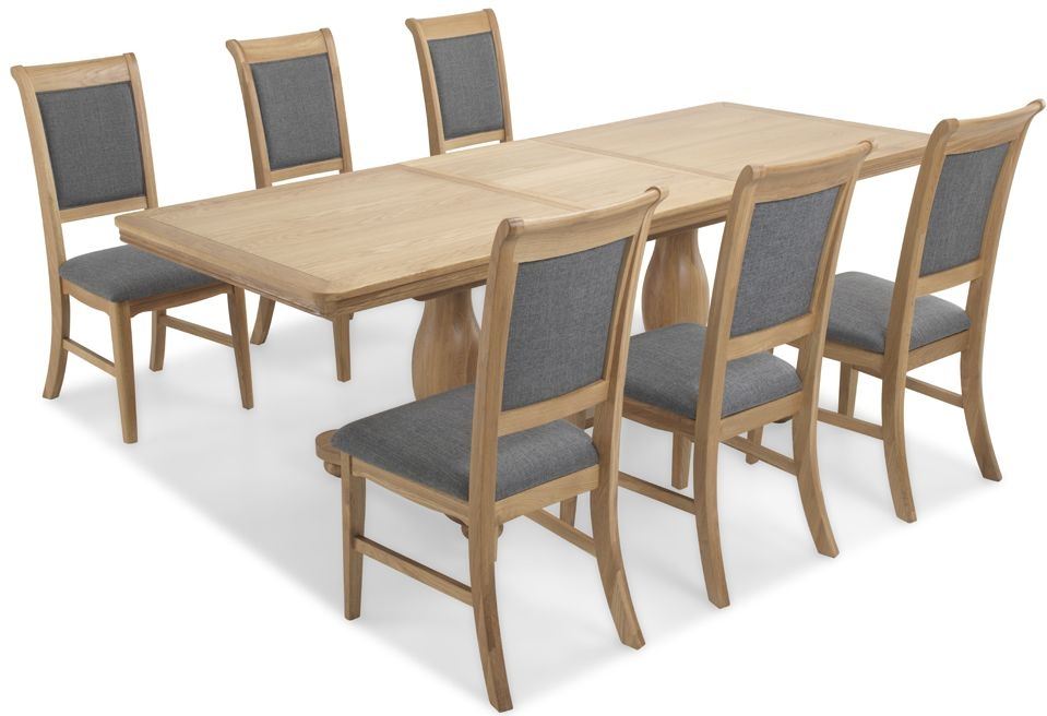 Georgina Natural Oak Double Pedestal Extending Dining Table and 4 Upholstered Chairs