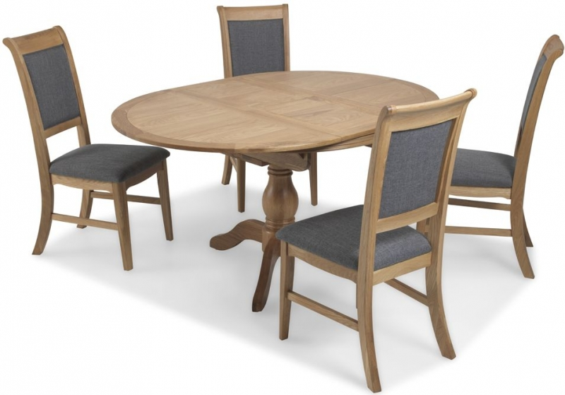 Georgina Natural Oak Round Extending Dining Set with 4 Upholstered Chairs - 110cm-150cm