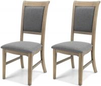 Georgina Limewashed Solid Oak Upholstered Dining Chair (Pair)