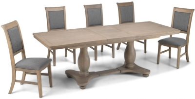 Georgina Limewashed Solid Oak Double Pedestal Rectangular Extending Dining Set with 4 Upholstered Chairs - 180cm-230cm