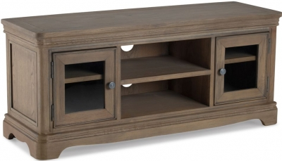 Georgina Limewashed Solid Oak 2 Door Plasma TV Cabinet