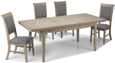 Georgina Limewashed Solid Oak Rectangular Extending Dining Set with 4 Upholstered Chairs - 125cm-165cm