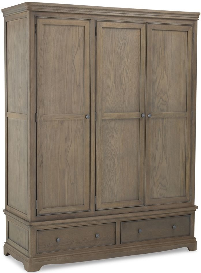 Georgina Grey Washed Oak 3 Door 2 Drawer Wardrobe