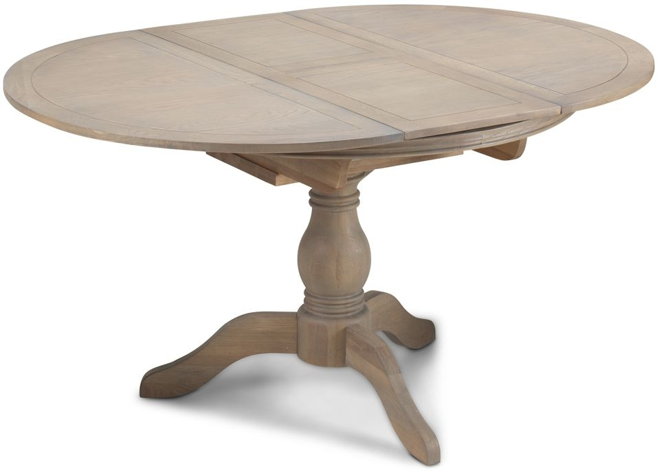Georgina Grey Washed Oak Round Extending Dining Table Cfs Furniture Uk
