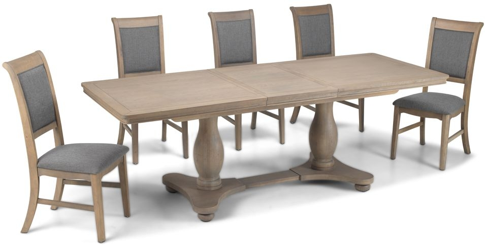Georgina Grey Washed Oak Double Pedestal Extending Dining Table and 4 Upholstered Chairs