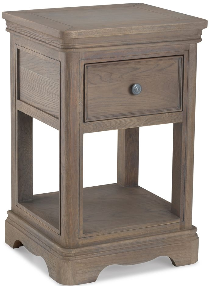 Georgina Limewashed Solid Oak 1 Drawer Lamp Table