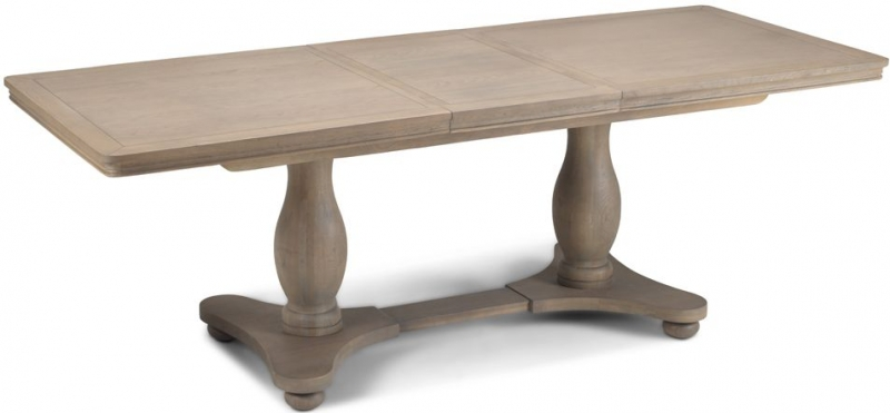 Georgina Limewashed Solid Oak Double Pedestal Rectangular Extending Dining Table - 180cm-230cm