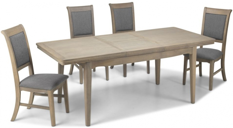 Georgina Grey Washed Oak Rectangular Extending Dining Set with 4 Upholstered Chairs - 150cm-200cm