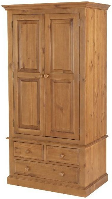 Henbury Pine 2 Door 3 Drawer Double Wardrobe