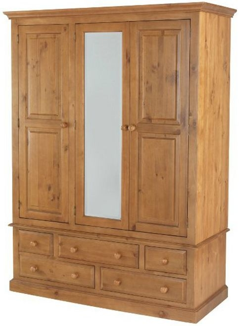 Henbury Pine 3 Door Combi Wardrobe