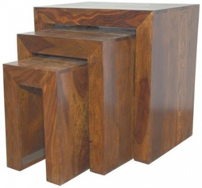 Clearance Cuba Sheesham Nest of 3 Tables