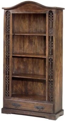 Clearance Jali Sheesham Tall Bookcase 1 Drawer - G426