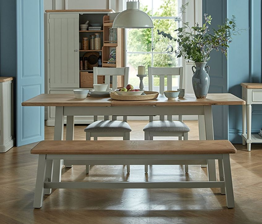 Shallotte Grey Painted Extending Dining Table with 2 Chairs and Bench