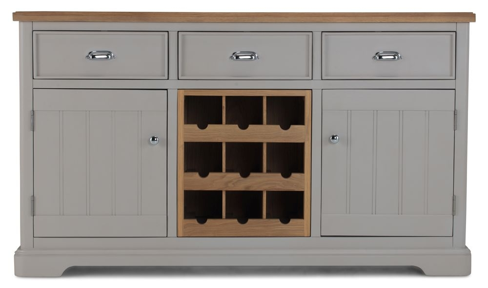 Shallotte Grey Painted Sideboard with Wine Rack