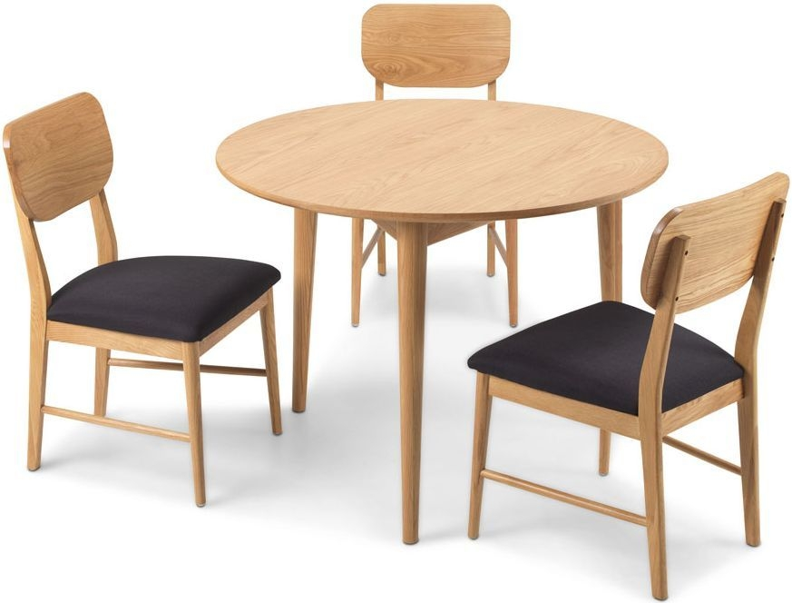 Skean Solid Oak Round Dining Set with 4 Chairs - 105cm