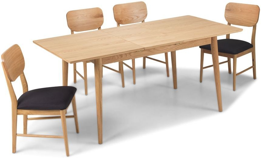 Skean Solid Oak Rectangular Extending Dining Set with 4 Chairs - 140cm-180cm